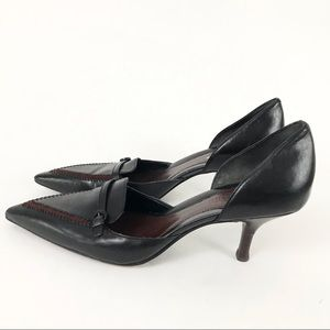 Cole Haan 6.5 Kitten Heels Black Leather Pointed Toe D'Orsay